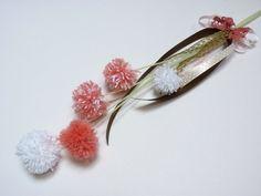 Tavaszi pamut pom-pom virágdísz  (pannika) - Meska.hu
