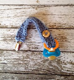 Baby Boy Crochet Pacifier Clip/Strap in Stonewash Free Shipping in U.S.- MADE TO ORDER on Etsy, $10.00