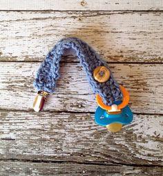 Baby Boy Crochet Pacifier Clip/Strap in by mamamegsyarnshoppe, $10.00