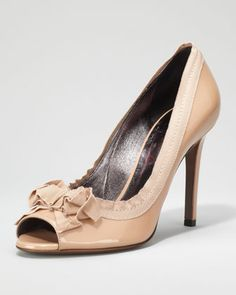 Grosgrain-Trimmed Patent Peep-Toe Pump, Nude by Lanvin at Neiman Marcus.