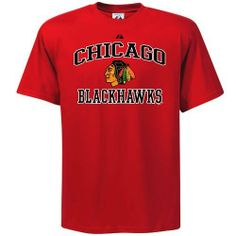 Majestic Chicago Blackhawks Heart Soul T-shirt by Lee. $19.95. Rib-knit collar. Screen print graphics. Lightweight ribbed T-shirt. Show your love for the Blackhawks with this Heart and Soul tee featuring the team logo under arched team lettering!