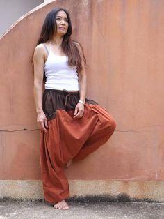 Color Two Tone Stone Washed Yoga Pants, Harem Pants, Trousers, Aladdin Pants, Green Cotton, Wide Leg Pants, Comfy, Stone, Model