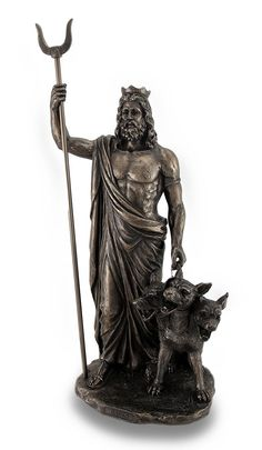 Bronze Finish Greek God Hades and Cerberus Statue Sculpture showing the early form image of Hades, what many people thought Hades looked like before media came involved like TV, films and Games and plus his 3 headed dog Cerberus.