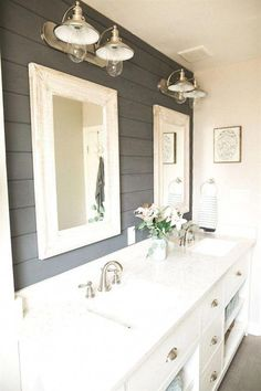 This Bathroom Makeover Will Convince You to Embrace Shiplap - Bathroom Ideas Ideas Baños, Decor Ideas, Decorating Ideas, Shiplap Bathroom, Bathroom Cabinets, Bathroom Mirrors, Basement Bathroom, Bathroom Canvas, Bathroom Small