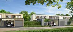 DIE LICHTUNG – Blick auf die Luminade und die beiden Architektur- und Fassadenstile Avantgarde und Klassik am Tag.