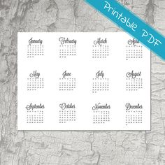 Year at a glance, Calendar 2017, Full Year 2017, Printable Stickers, Planner Stickers, Monthly Calendar - version 2