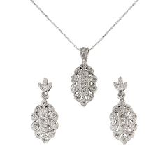 White Gold and Diamond Necklace and Earring Set - Bridal Jewelry White Gold Jewelry, Matching Necklaces, Necklace Lengths, Bridal Jewelry, Earring Set, Diamond Earrings, Women Jewelry, Pendant Necklace, Gemstones