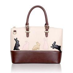 Women's Handbags Women Cute Cat Rabbit PU Leather Shoulder Bag Detachable Belt Handbags Lady Messenger Crossbody Casual Tote