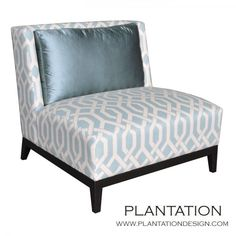 """Plantation Design -- Furnishings  Milano Chair  Category: Chair    Dimensions: 35""""W X 36""""D X 34""""H  This chair is available in custom sizes, fabrics and wood finish colors. Pricing will vary depending on options chosen. Please call or email us for a quote."""