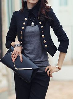 Stylish Stand-Up Collar Long Sleeve Double-Breasted Blazer For Women