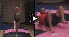 Pai De 41 Anos Esforça-se Por Copiar Os Exercícios Da Filha Ginasta