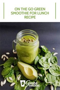 This is the perfect green smoothie recipe for lunch if you're always on the go. It is tasty, burns fat fast and will fill you up until dinner time. Green Smoothie Cleanse, Lunch Smoothie, Green Detox Smoothie, Green Smoothie Recipes, Green Smoothies, Smoothie Diet, Healthy Carbs, Healthy Drinks, Healthy Food