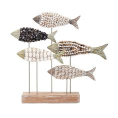 2017 mahi Fish Mosiac Alabasia Wood & seashells Coastal, seaside decor 14632 #IMAX #Nautical