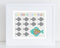 go your own way fish print nursery art, rainbow colourful kids art, finshing art, sea themed nursery Ocean Themed Nursery, Nursery Themes, Nursery Prints, Nursery Art, Nursery Decor, Colorful Artwork, Colorful Fish, Baby Decor, Kids Decor