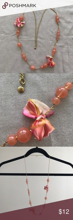 """J Crew necklace Coral bead and ribbon necklace. Bows are ombré with shades of pink,coral and yellow. Overall length is 30"""" J. Crew Jewelry Necklaces"""