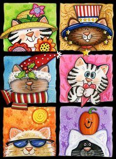 Cat Art Print, Print Artist, Original Paintings, Original Art, Flower Pot Crafts, The Pussycat, Pet Rocks, Small Art, Mason Jar Crafts