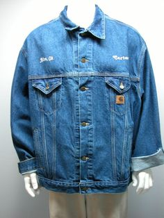 Mens Carhartt Jacket Blue Denim Trucker Work Coat J12DST Sz 3XL Reg USA #Carhartt #JeanJacket