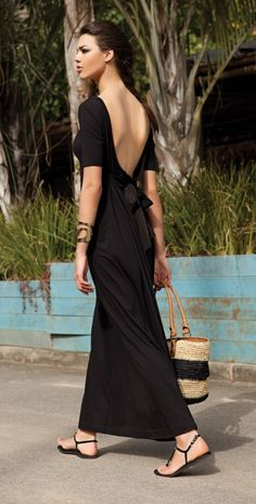 Casual Black Maxi Dress with a Bow... <3 <3 <3