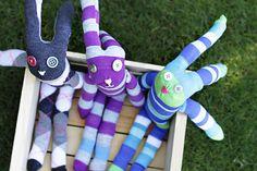 Easter Bunny from socks.  DIY Tutorial via lilblueboo.com