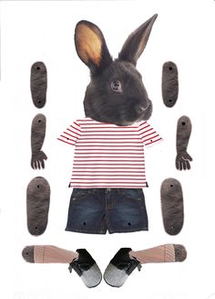 Jointed Paper Doll Oscar bunny