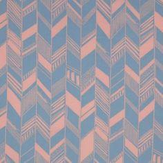 Dusty Coral/Jay Blue Geometric Chevron Cotton Voile