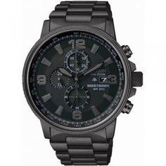 Citizen Men's Night Hawk Chronograph Black I.P Bracelet Watch - Image 1 of 2