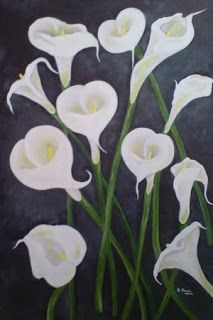 Oil painting of Arum Lilies. Lilies, Oil Paintings, Living Room, Plants, Art, Art Background, Irises, Kunst, Orchids