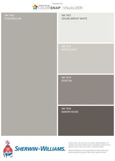 Grey/ greige colors for kitchen cabinets and walls. White trim, pussywillow on walls, Repose on top kitchen cabinets, dovetail on bottom cabinets, front door already manor house. Kitchen Cabinet Colors, Diy Kitchen Cabinets, Kitchen Colors, Kitchen Redo, Kitchen Ideas, Kitchen Paint, Kitchen Stuff, Kitchen Furniture, Exterior Paint Colors