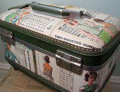 DIY Decoupage Train Case / Sewing Box using vintage pattern sleeves… Decoupage Suitcase, Suitcase Decor, Decoupage Furniture, Vintage Suitcases, Vintage Luggage, Sewing To Sell, Sewing Box, Vintage Train Case, Vintage Sewing Machines