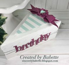 Cake Boxes, Stampin Up, Happy Birthday, Create, Ideas, Paper, Packaging, Pies, Happy Brithday