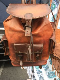 All leather backpack. Beautiful and loyal as they come; she will last you a lifetime.