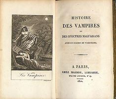 A scarse and famous history of vampires by Collin de Plancy.  Paris. 1820. First ed. small 8:o. 284 pages. Bound in cont brown calf with gilt spine.