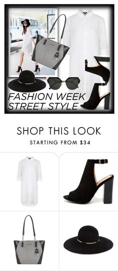 """fashion week street style"" by teto000 ❤ liked on Polyvore featuring Topshop, Bamboo, Karl Lagerfeld, Eugenia Kim and Fendi"