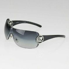 CHANEL Black Gradient Lens Rimless Shield CC Logo Authentic CHANEL back gradient lens rimless shield CC logo sunglasses-4145. The lenses are clean and beautiful with no visible scratches or knicks. Excellent condition. Worn only a couple of times. Cloth dust bag included.  Please let me know if you need additional photos.  Offers welcomed CHANEL Accessories Sunglasses