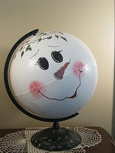 Snowman globe… good use for an old out-of-date globe!