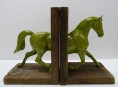 Horse Bookends Repurposed Upcycled Salvaged wood