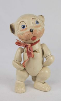 1920s Schoenhut Wooden Jointed Bonzo the Dog Comic Character Doll