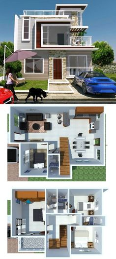 Modern two storey house concept featured has a total floor area of square meters, where 90 sq. is dedicated in the ground floor and the rest at the upper floor. Square House Plans, Two Storey House Plans, Narrow Lot House Plans, Two Story House Design, 2 Storey House Design, House Front Design, Minimal House Design, Best Modern House Design, 4 Bedroom House Designs