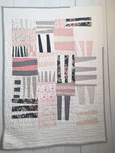 Sweet Totem Patchwork Quilt Pink and Black by whitecloudstitchery