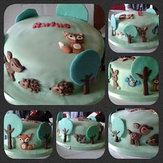 Woodland themed cake with fondant deer, foxes, hedgehogs, owl, squirrel, little birds, bunny and trees.