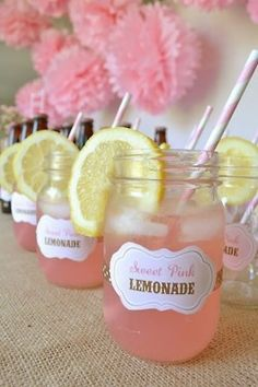 Old fashioned sweet pink lemonade in mason jars w/ a striped straw and slice of lemon.perfect for a bridal shower, baby shower, or birthday party! Uses For Mason Jars, Idee Baby Shower, Girl Shower, Cowgirl Birthday, Cowgirl Party Food, Horse Party Food, Party Food Bars, Country Birthday, Horse Birthday