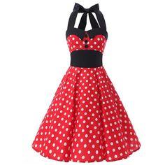 Women's Black Collars Halterneck Polka Dot Floral 50s Inspired Vintage... ($29) ❤ liked on Polyvore featuring dresses, red floral dress, red halter dress, pin up dresses, vintage polka dot dress and floral dresses