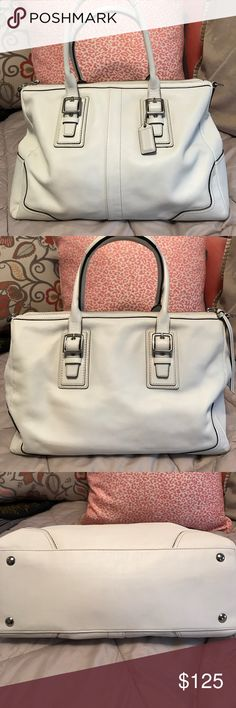 AUTHENTIC  WHITE LEATHER COACH SATCHEL Gorgeous, practically new condition I purchased here and never used. Handles and exterior extremely clean and the interior is as well except for a couple small ink marks inside the zip compartment, see pic  all mickel hardware, it is missing long strap but you could use another white strap easily COACH Bags Satchels