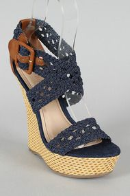Bamboo Pompey-39 Denim Woven Criss Cross Open Toe Wedge