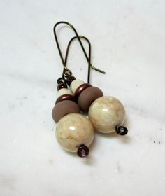 Ivory River Rock and Glass Earrings. Under Gifts for Her. by LeanneDesigns on Etsy Glass Earrings, Dangle Earrings, Shop Sale, Dangles, Gifts For Her, Ivory, Rock, Trending Outfits, Unique Jewelry