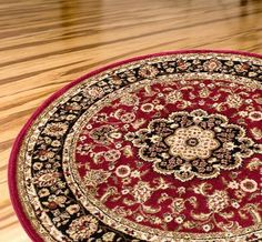 Persian Classic Red Burgundy 53 Round Area Rug Oriental Floral Motif Detailed Classic Pattern Antique Living Dining Room Bedroom Hallway Office Carpet Easy Clean Traditional Soft Plush Quality * You can find out more details at the link of the image.