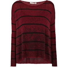 PARKER BLUE Kuja Stripe Knit ($385) ❤ liked on Polyvore featuring tops, sweaters, shirts, berry, knit sweater, slouchy sweater, boat neck striped shirt, red knit sweater and boatneck sweater