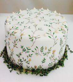 Botanical hand painted wedding cake for by Mimolo Design Pretty Cakes, Beautiful Cakes, Amazing Cakes, Bolo Floral, Floral Cake, Wedding Cake Photos, Floral Wedding Cakes, Painted Wedding Cake, 1st Birthday Cakes