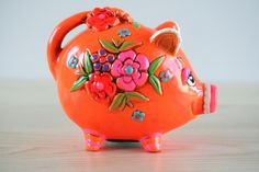 Your place to buy and sell all things handmade Vintage Love, Retro Vintage, Pig Bank, Penny Bank, Paper Mache Animals, Miss Piggy, This Little Piggy, Flea Market Finds, Money Box
