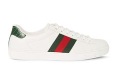 Gucci Crocodile & Webbing-Trimmed Leather Sneakers: The luxury fashion giant offers its own take on the classic tennis shoe. Sneakers 2016, Adidas Sneakers, Shoes Sneakers, Sneaker Art, Plimsolls, Luxury Fashion, Womens Fashion, City Style, Clothes Horse